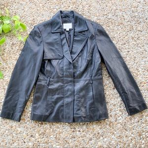 Worthington Black Lambskin Soft Coat Jacket Medium